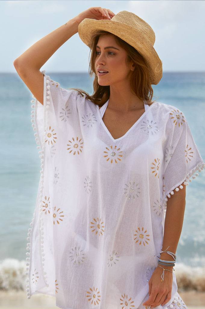 Kiki Sequin Kaftan | White