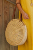 Large Round Raffia Shoulder Bag by Ivahona | Natural