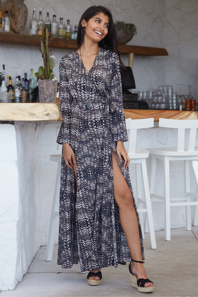 Lucy Maxi Wrap Dress | Snake Brown Print