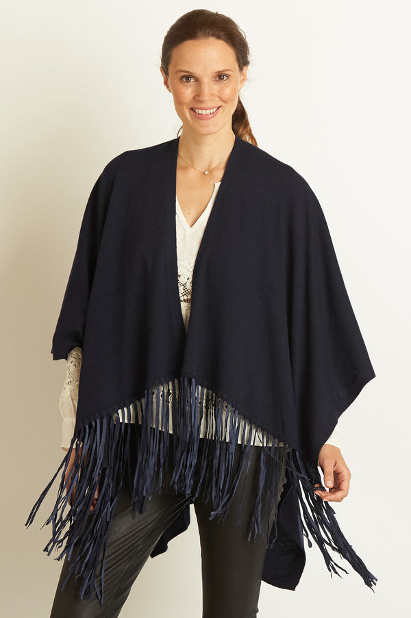 Image: Leather Fringe Poncho | Navy