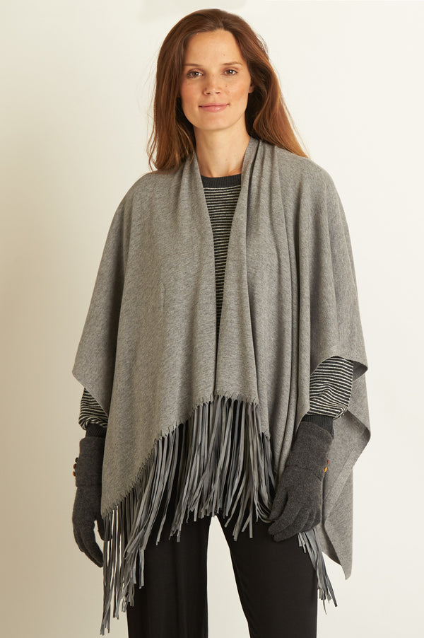 Image: Leather Fringe Poncho | Slate
