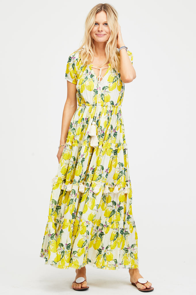 Lemon Floral Maxi Dress | Yellow
