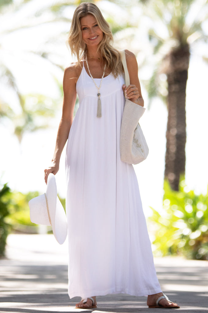 Lenu Maxi Dress | White - Aspiga