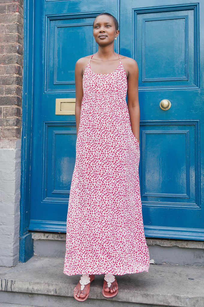 Lenu Maxi Dress | Leopard White/Pink