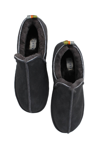 Lewis Men's Sheepskin Slippers with Ribbon | Grey