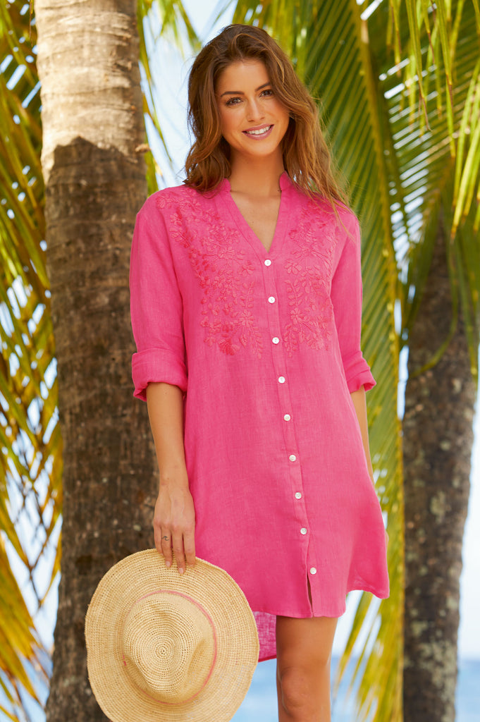 Embroidered-Short-Tunic-Pink