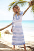 Lola Embroidered Cotton Dress | Blue/White