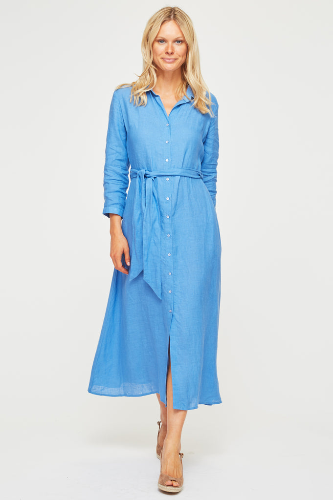 Linen Midi Shirt Dress | Marina Blue