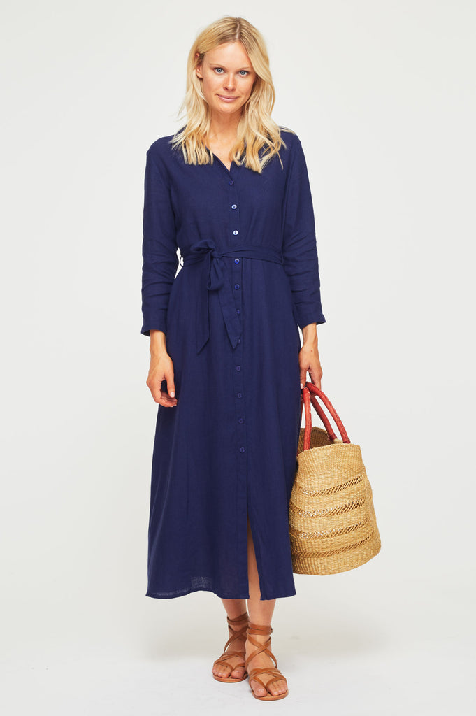 Linen Midi Shirt Dress | Navy