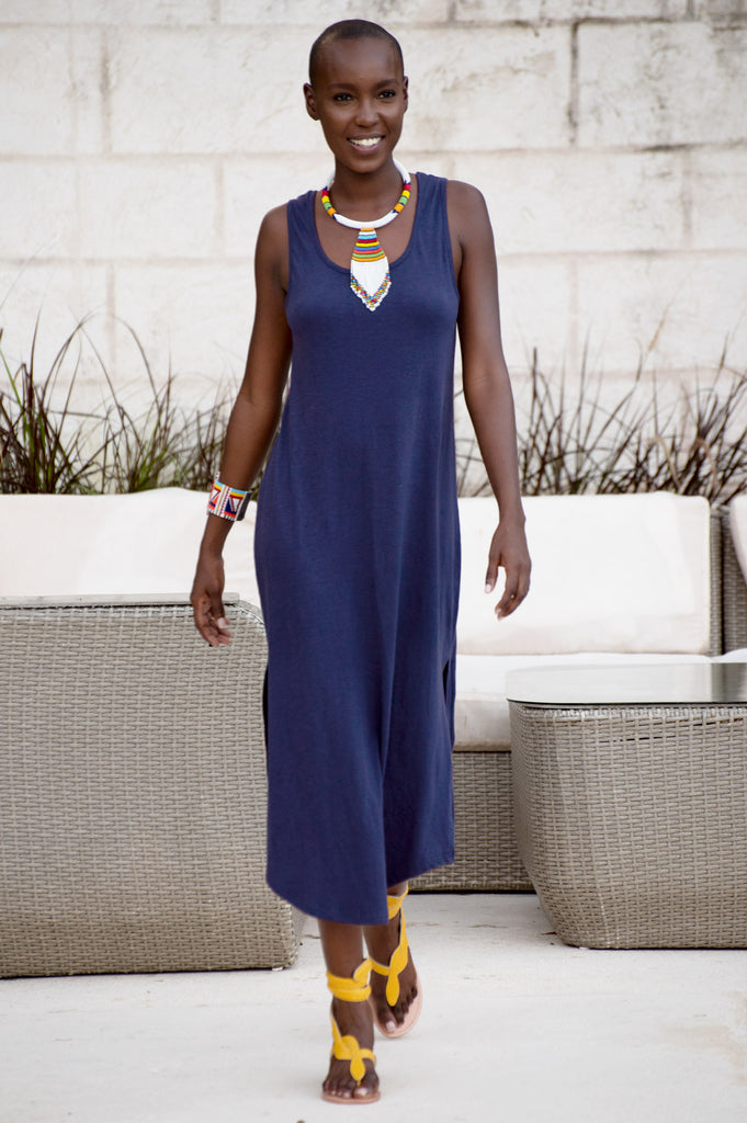 Lipari Cotton Midi Dress | Navy - Aspiga