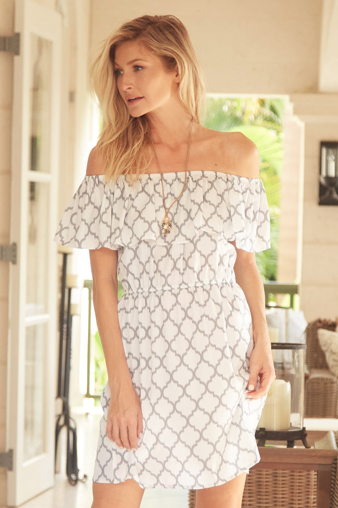 Lizzie Off The Shoulder Dress | Grey/White