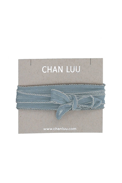 Solid Chiffon Chain Necktie by Chan Luu | Light Blue