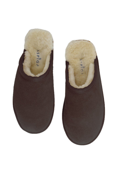Lou Unisex Sheepskin Scuffs | Chocolate