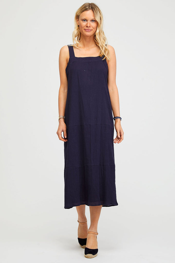 Louise Midi Sundress | Navy - Aspiga