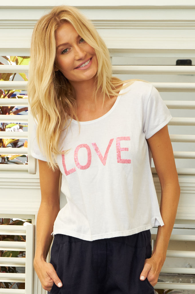 LOVE Sequins T-Shirt | Pink