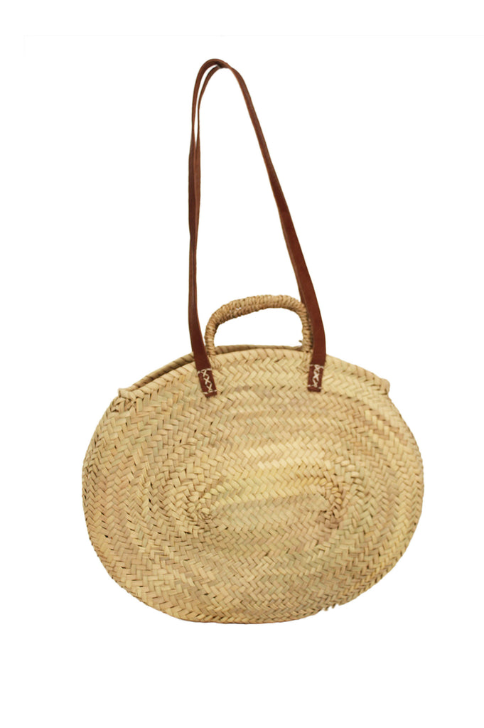 Medium Round Basket Shoulder Bag | Natural