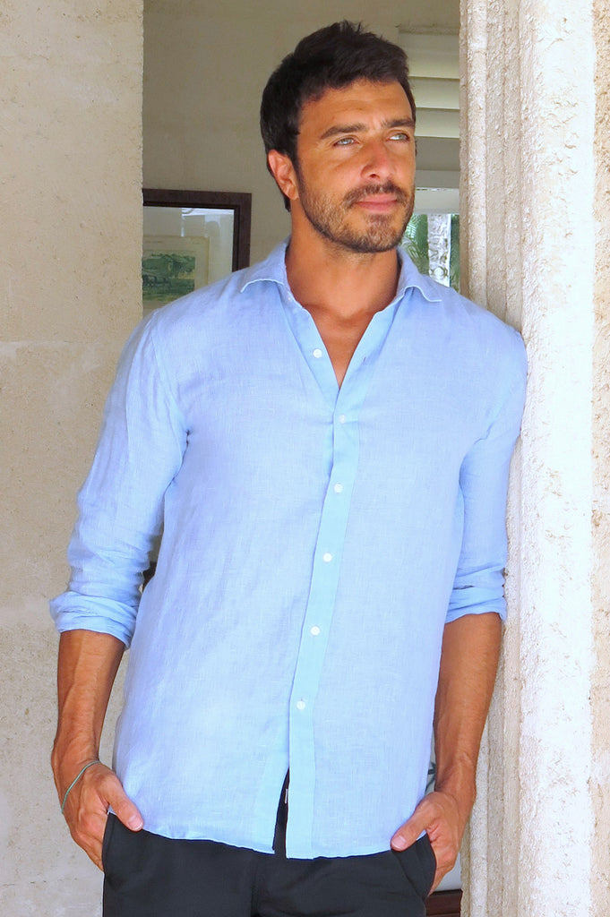 Men's Linen Shirt | Light Blue