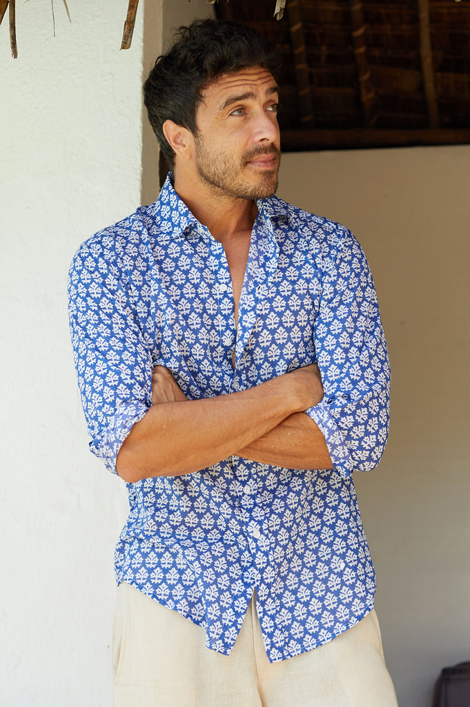 Men's Organic Cotton Shirt | Batik Blue/White - Aspiga