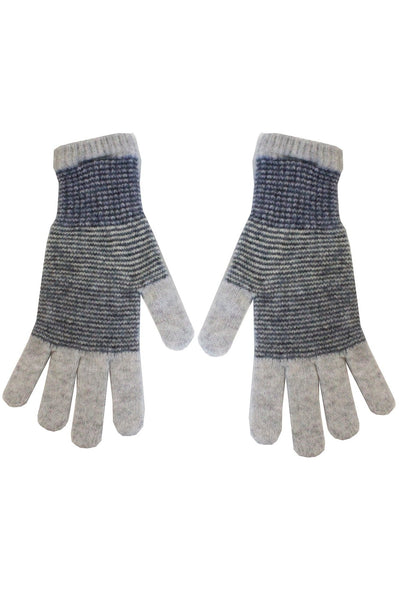 Merino Striped Gloves by Eribe | Grey/Blue