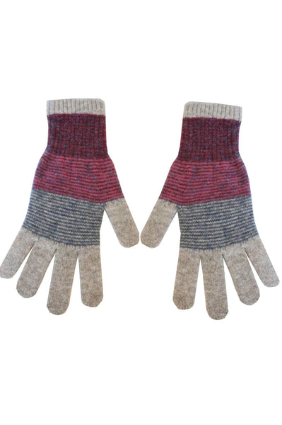 Merino Striped Gloves by Eribe | Grey/Red