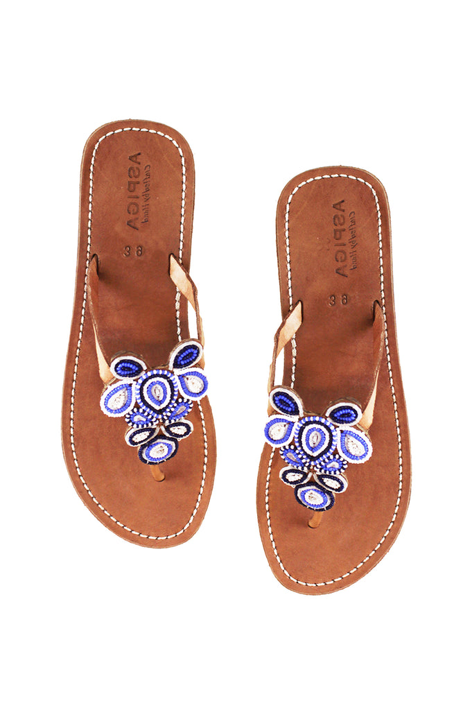 Mia Full Beaded Heel Sandals | Blue/White