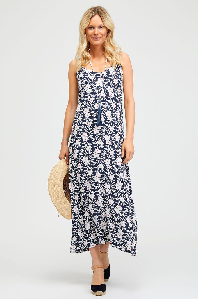 Miami Midi Sundress | Flower Blue