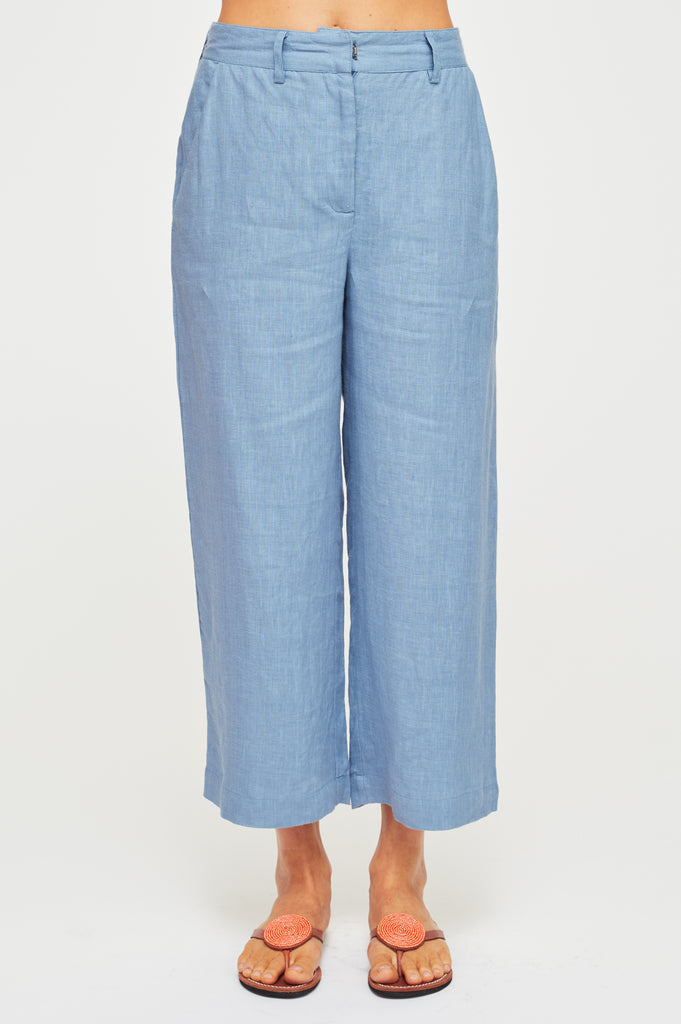 Linen Cropped Trousers | Dusty Blue