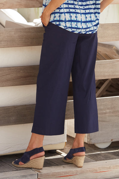 Milan Stretched Cropped Trousers | Navy