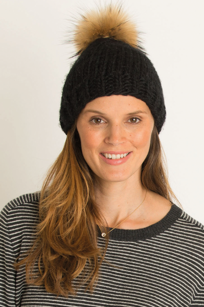 Milly Interchangeable Pom Pom Hat by Rose & Rose | Black