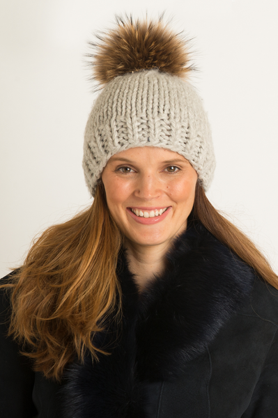 Milly Interchangeable Pom Pom Hat by Rose & Rose | Grey