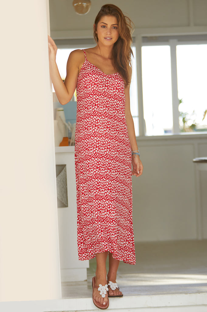 Miami Midi Sundress | Leopard Red