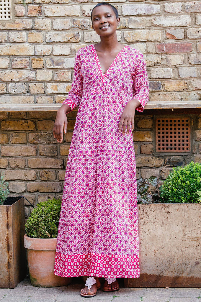 Mykonos Organic Cotton Maxi Dress | Fig Pink