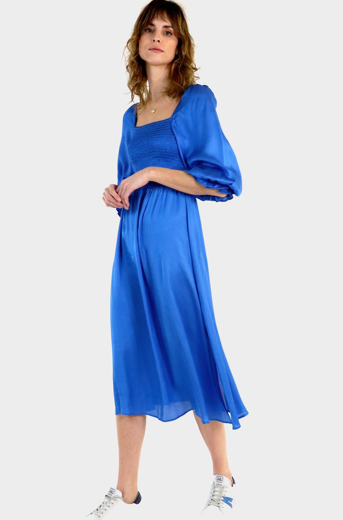 Nancy Satin Puff Sleeve Shirred Midi Dress | Cobalt Blue