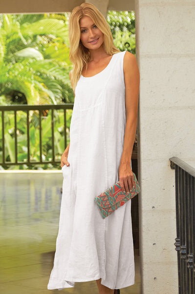 Nancy Linen Dress | White