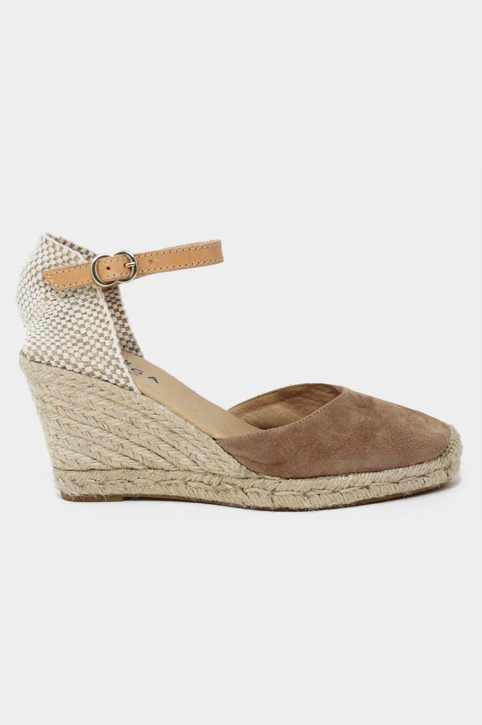 Nantes Leather Wedge Espadrilles | Almond - Aspiga