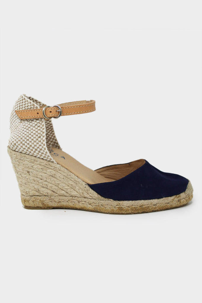 Nantes Leather Wedge Espadrilles | Navy - Aspiga