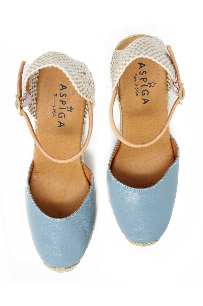 Nantes Leather Wedge Espadrilles | Denim
