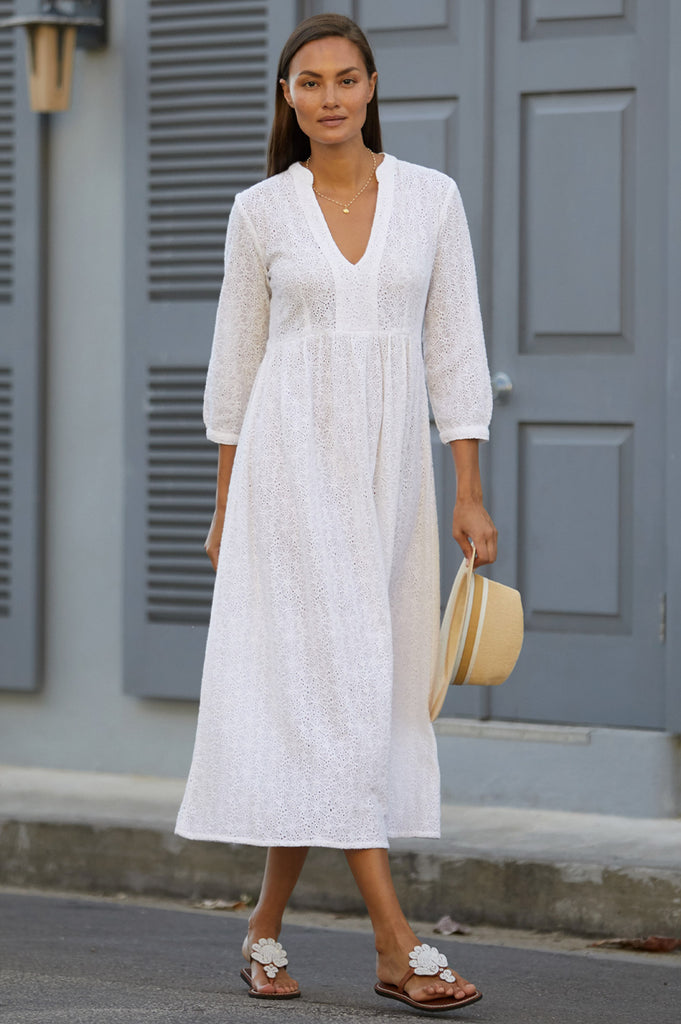 Natalie Organic Broderie Anglaise Cotton Dress | White - Aspiga