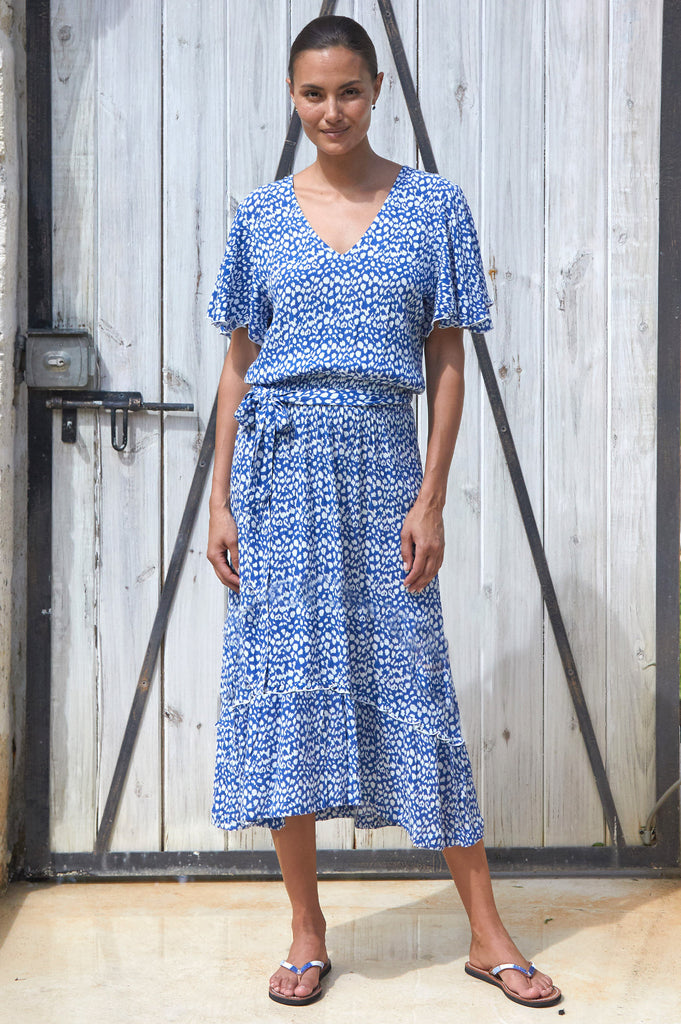 Nissi Midi Dress | Leopard Blue - Aspiga