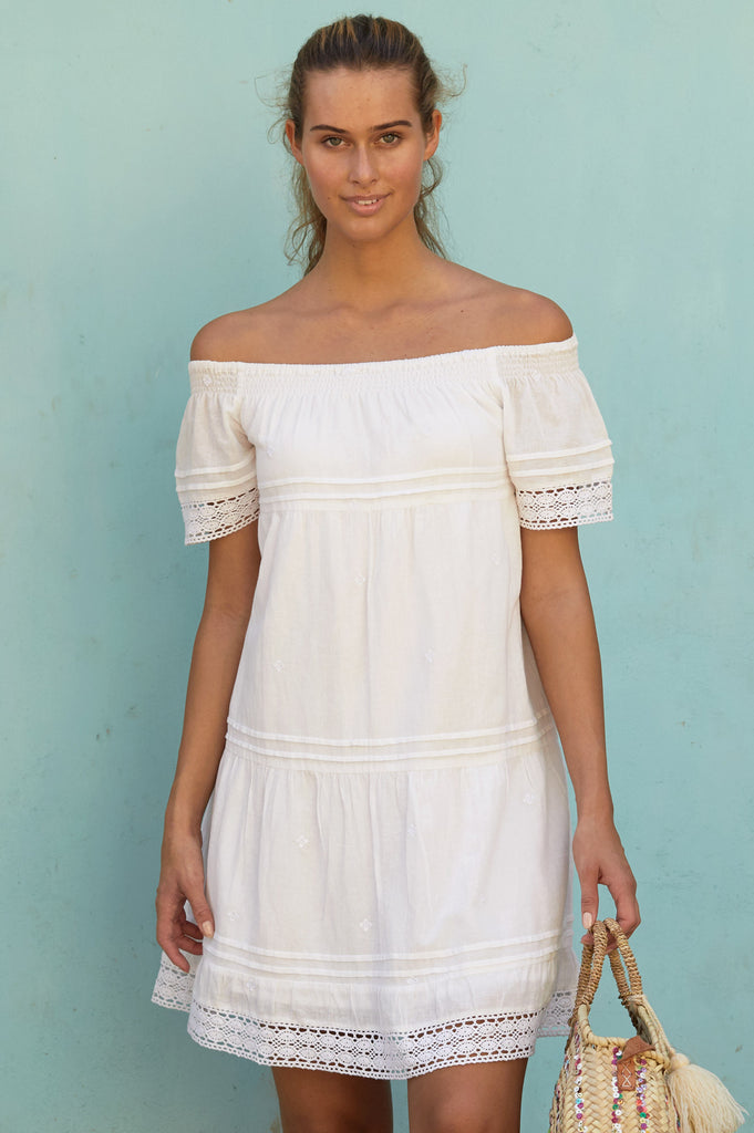 Rhianna Cotton Lace Dress | White - Aspiga