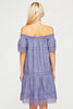 Off The Shoulder Linen Dress | Dusty Blue - Aspiga