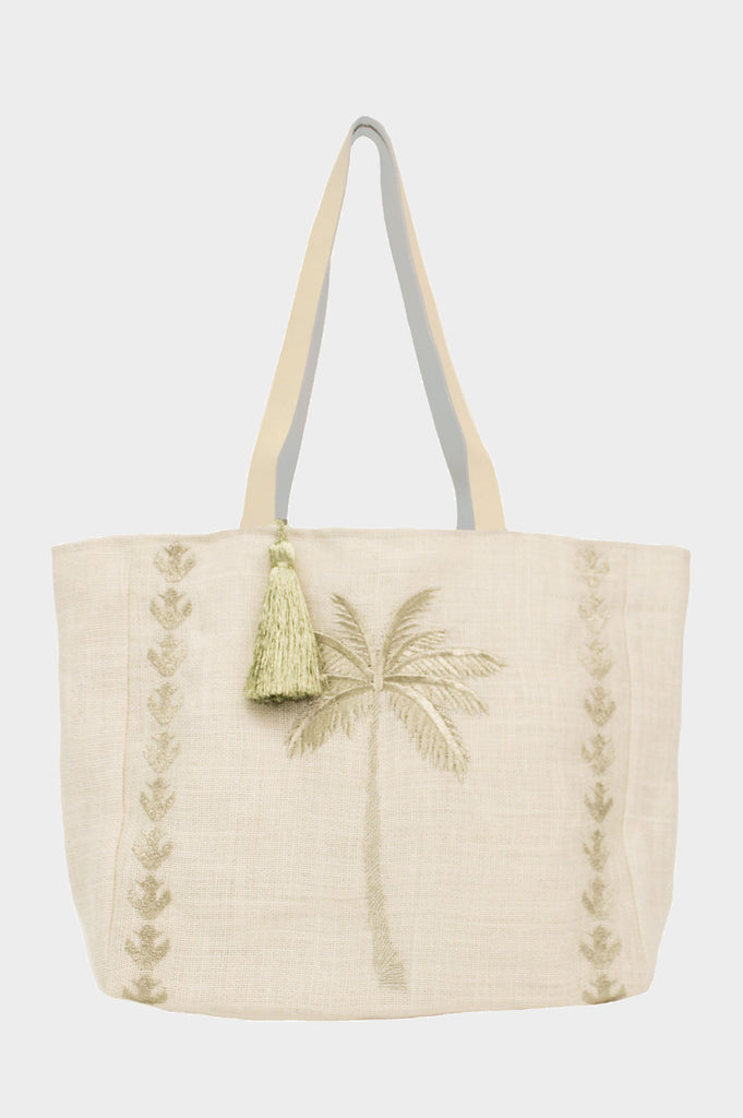 Palm Tree Jute Beach Bag | White/Gold