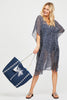 Palm Tree Jute Beach Bag | Navy/Silver