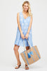 Palm Tree Jute Beach Bag | Powder Blue
