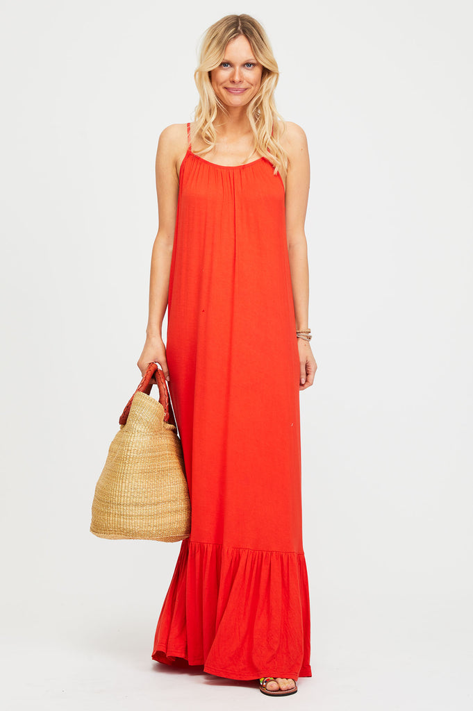 Penelope Maxi Jersey Dress | Red