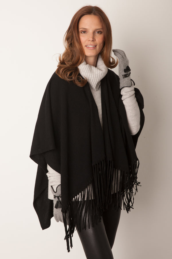 Image: Leather Fringe Poncho | Black