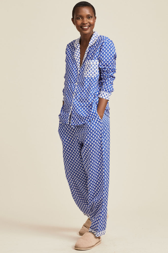 PRE ORDER - Organic Cotton Pyjama Set | Leaf Blue/White