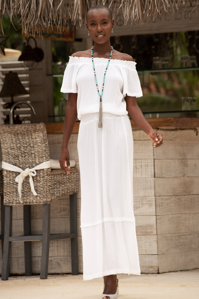 Raela Off The Shoulder Maxi Dress | White - Aspiga