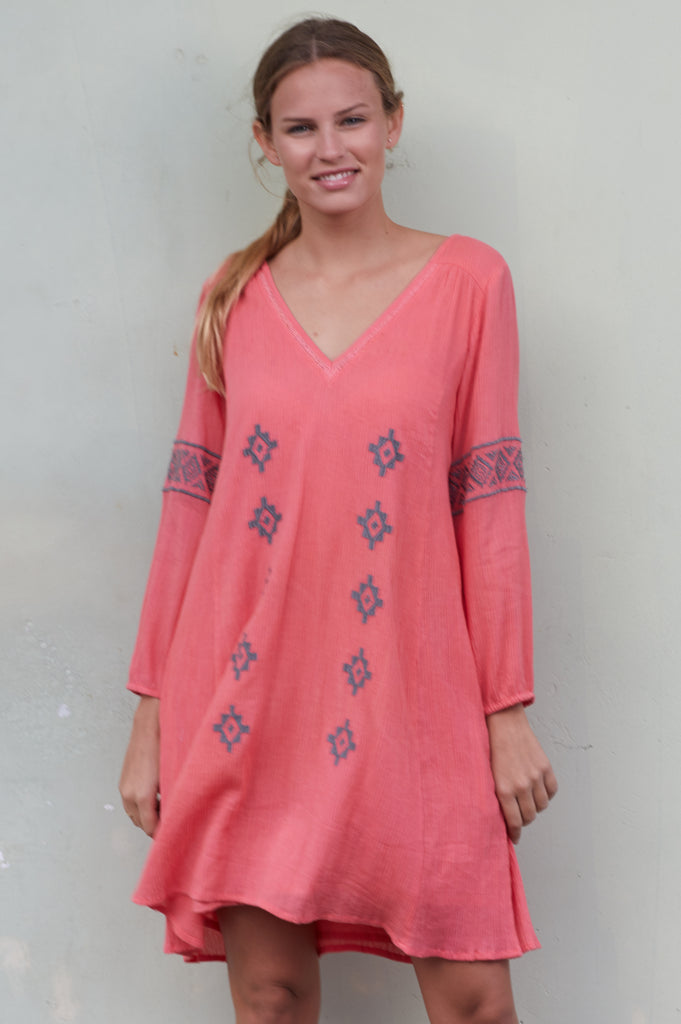 Roxy Embroidered Cotton Dress | Coral/Taupe