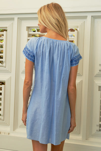 Sally Embroidered Cotton Dress | Light Blue/Marina Blue